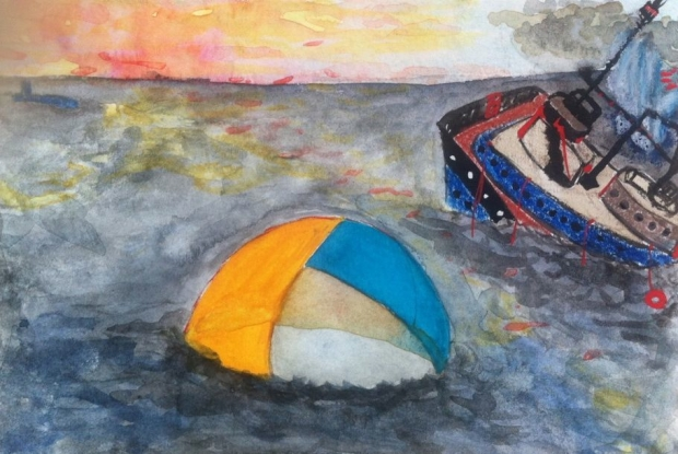 the floating tent, 2012 watercolor, pastel & pencil 3 x 5 inches
